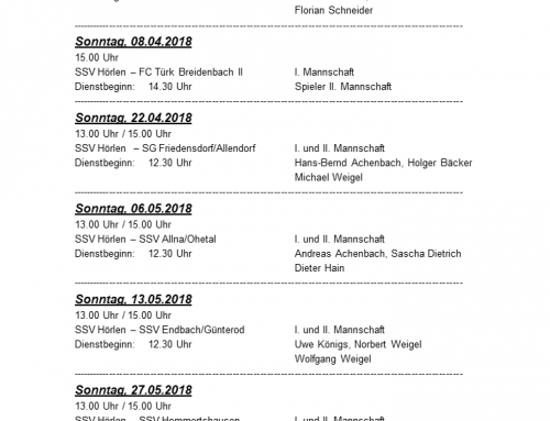 Dienstplan Sportplatz – Rückrunde 2018